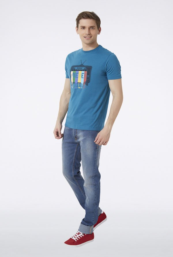 Peter England Blue Graphic Print T-Shirt