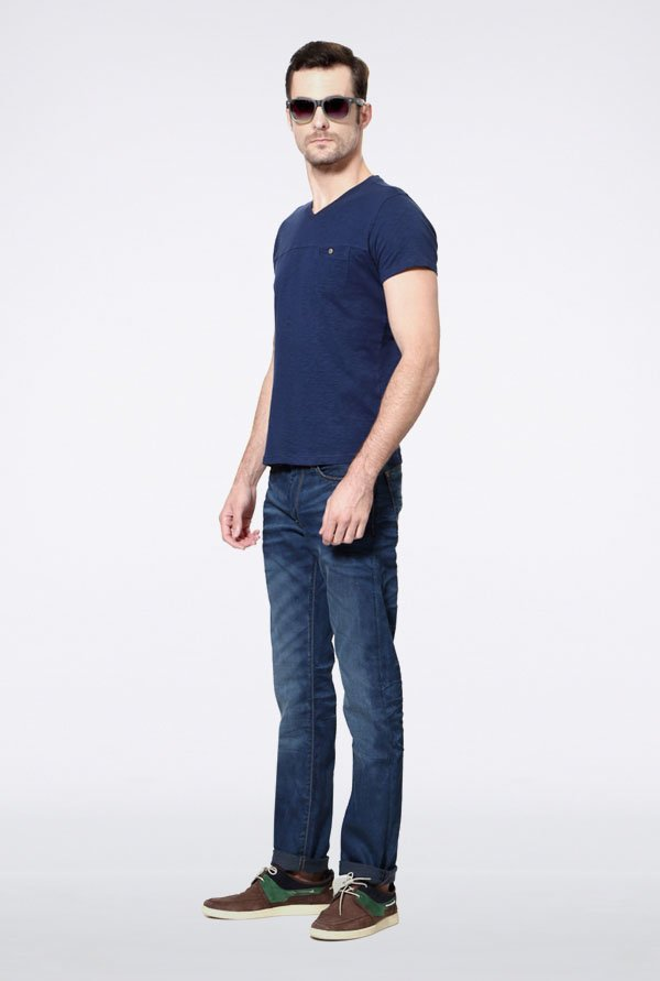 Allen Solly Navy Solid V-neck T-Shirt
