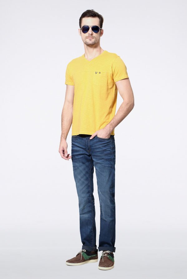 Allen Solly Yellow Solid V-neck T-Shirt