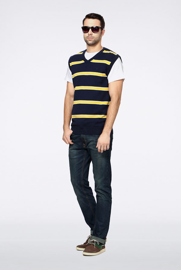 Allen Solly Navy & Yellow Striped Sweater