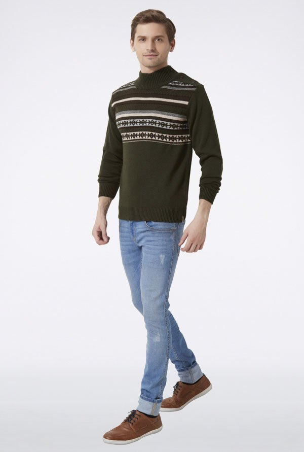 Peter England Olive High Neck Sweater