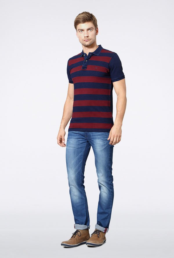 Allen Solly Navy & Maroon Striped Polo T-Shirt