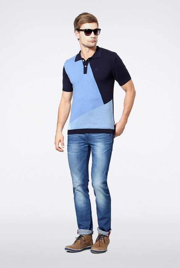 Allen Solly Blue & Navy Polo T-Shirt