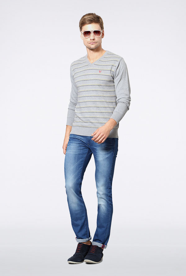 Allen Solly Grey Striped Sweater