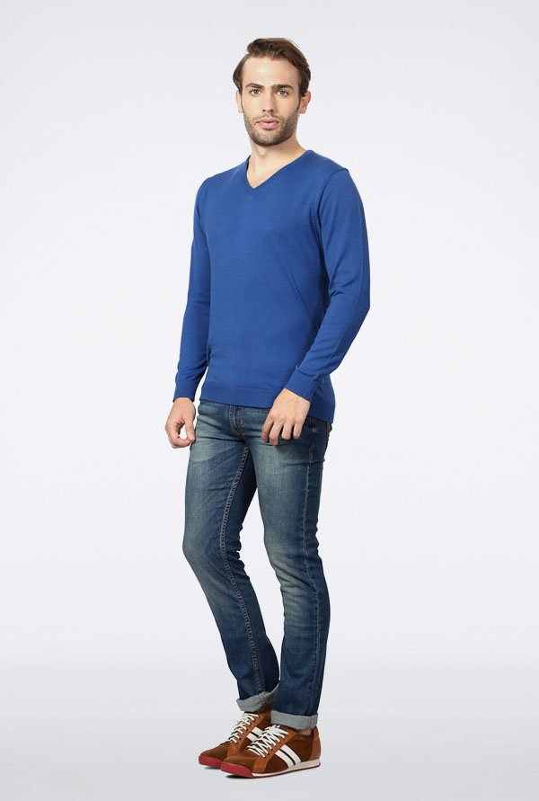 Peter England Blue Solid Cotton Sweater