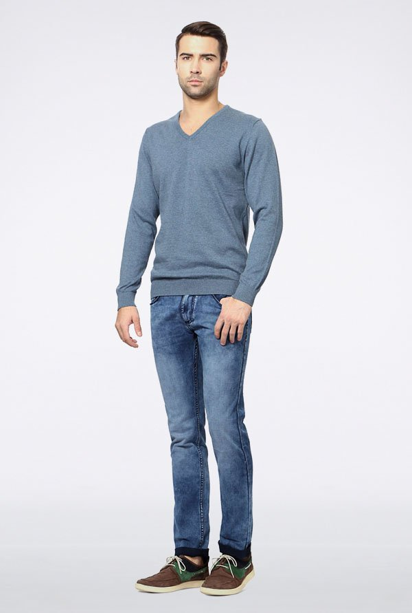 Peter England Blue Cotton Sweater