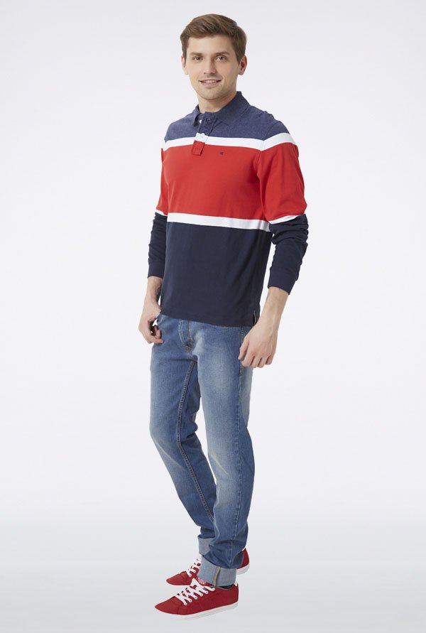 Peter England Navy & Red T-Shirt