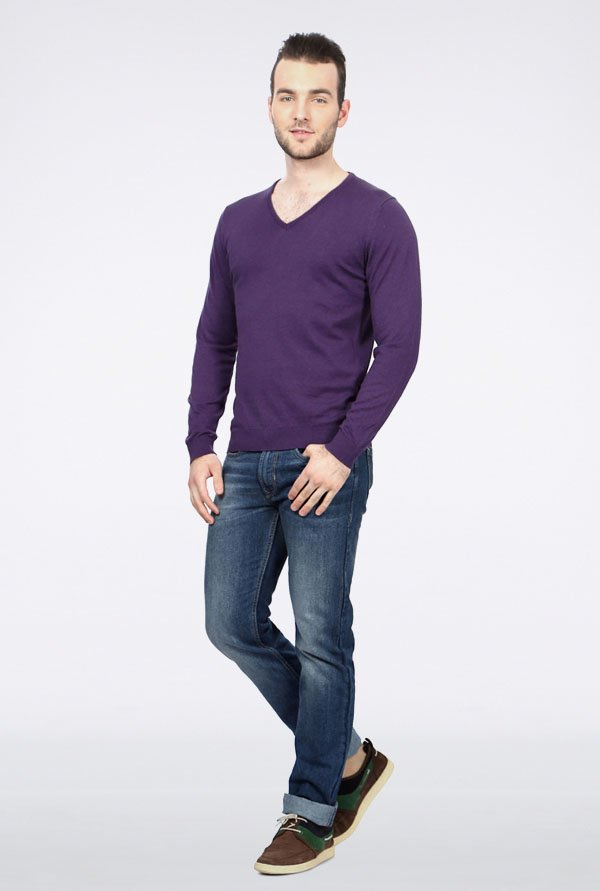 Peter England Purple Solid Cotton Sweater