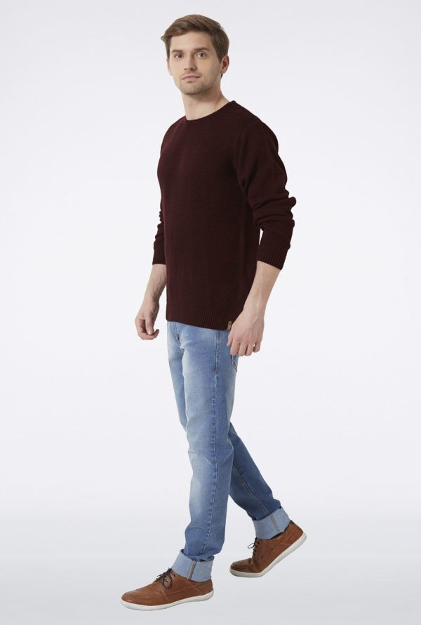 Peter England Maroon Solid Sweater