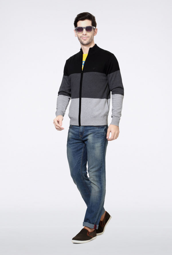 Allen Solly Grey Block Sweater