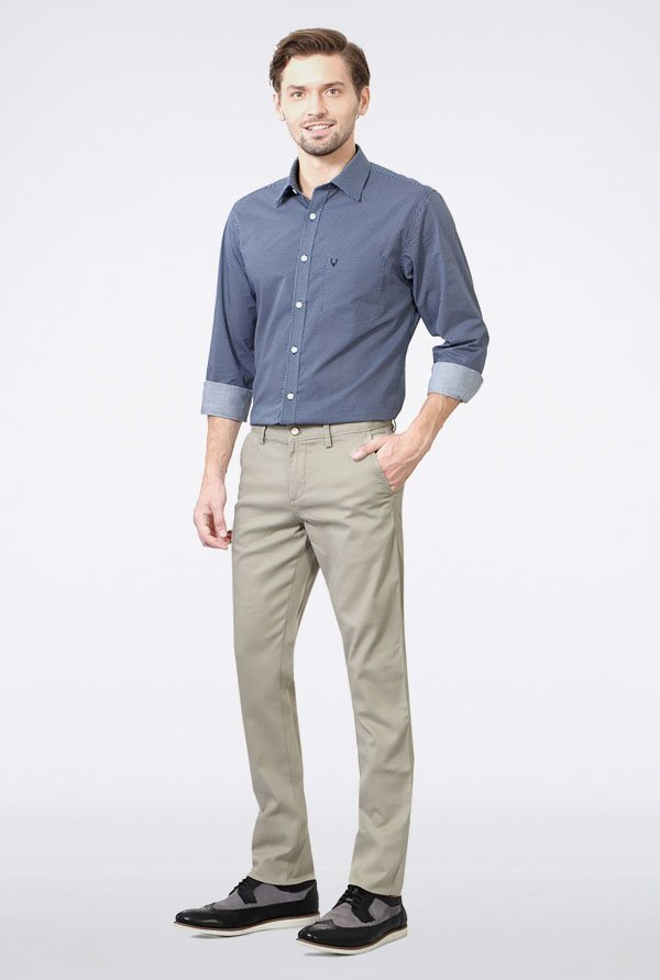 Allen Solly Grey Mid Rise Casual Trouser