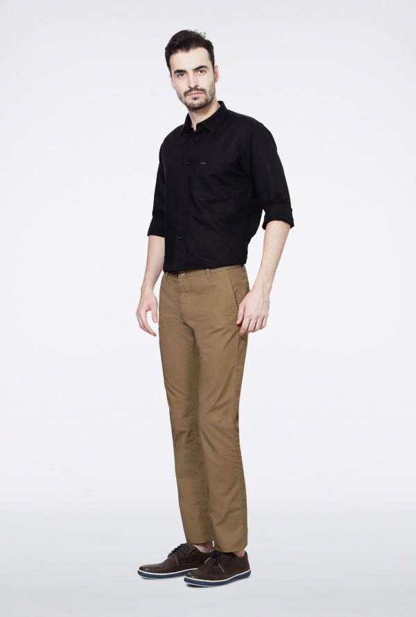 Allen Solly Khaki Solid Chinos