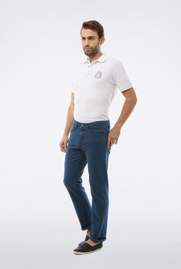 Allen Solly Blue Solid Mid Rise Jeans