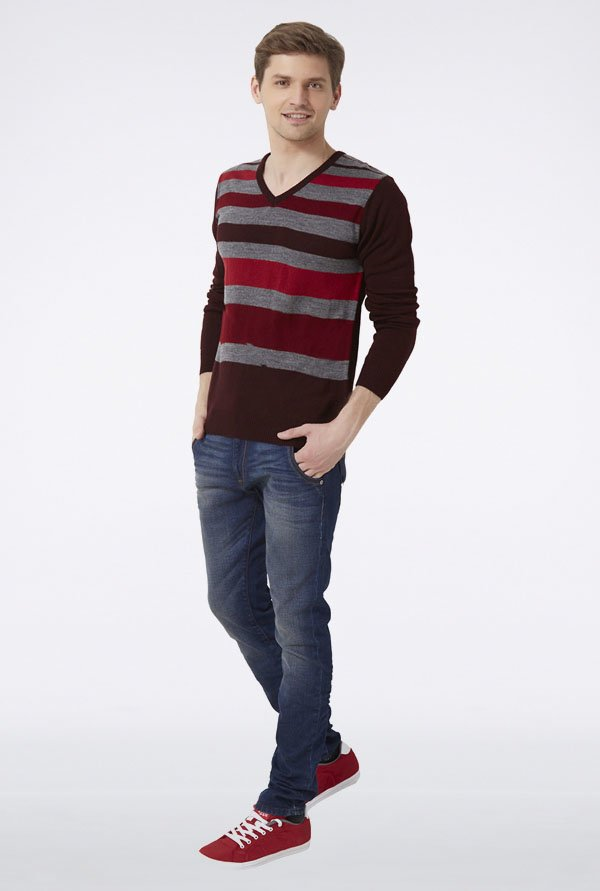Peter England Multicolor Striped Sweater