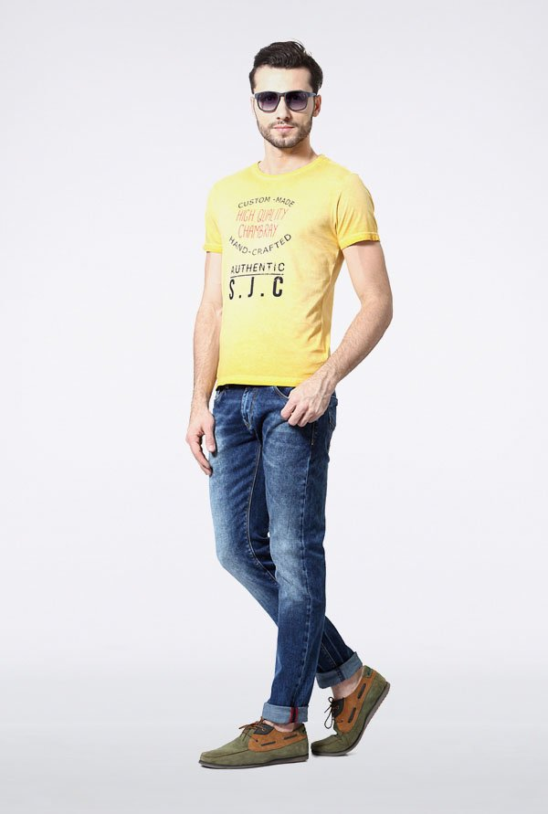 Allen Solly Yellow Graphic Print T-Shirt