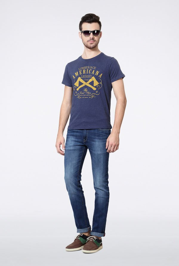Allen Solly Dark Blue Graphic Print T-Shirt
