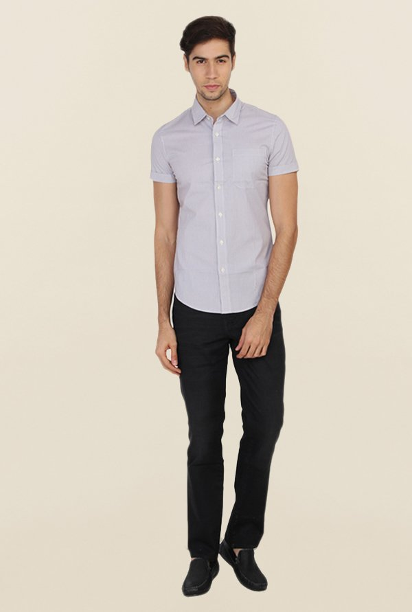 Calvin Klein Grey Cotton Casual Shirt