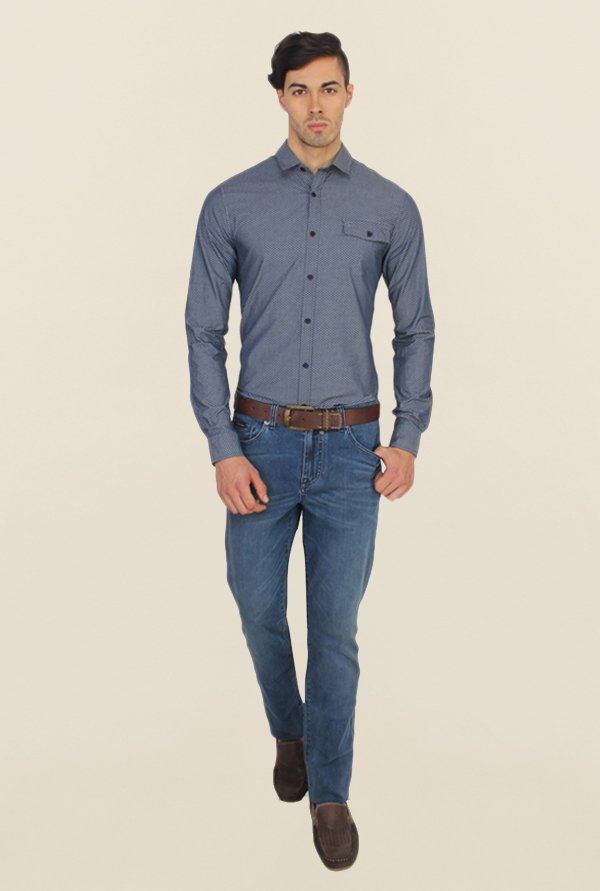 Calvin Klein Blue Self Print Casual Shirt