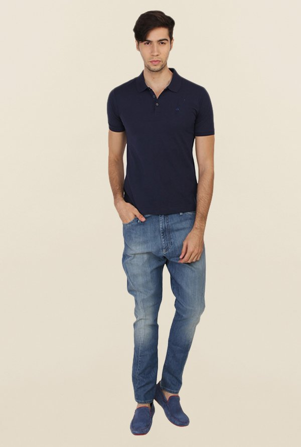 Calvin Klein Navy Polo Cotton T Shirt