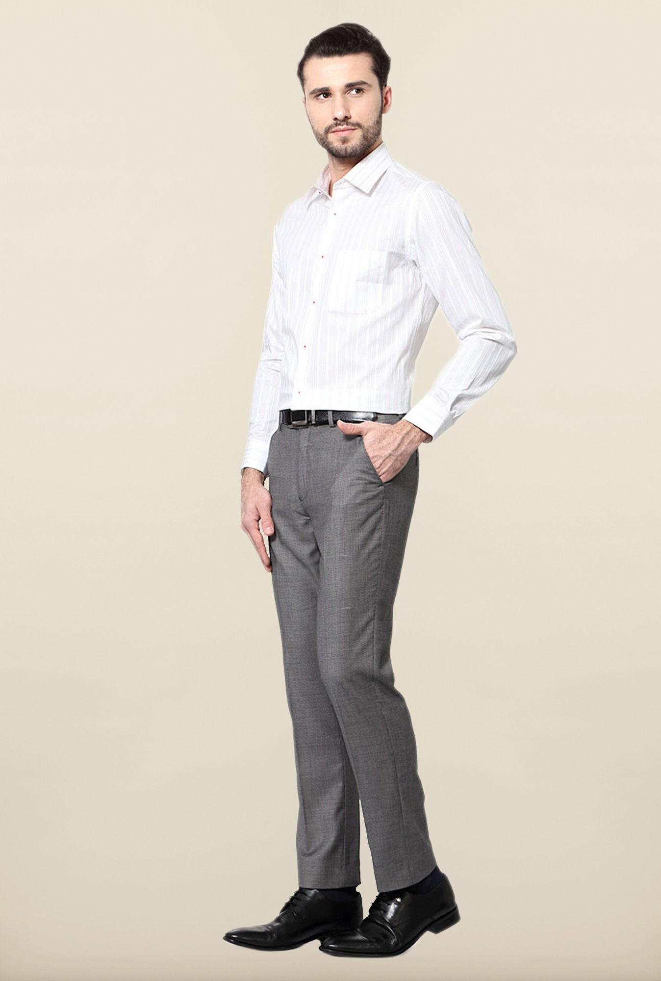Peter England White Striped Cotton Formal Shirt