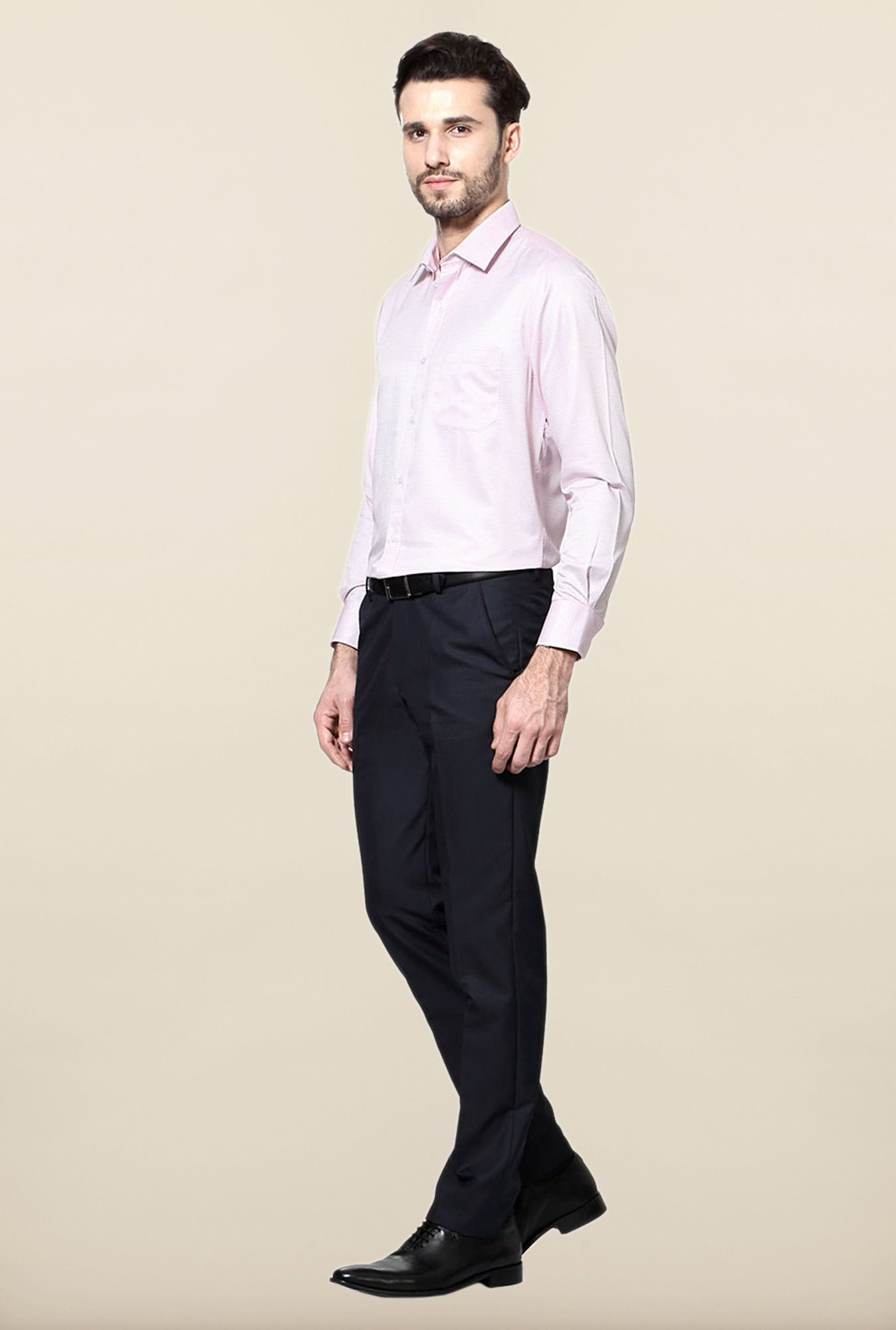 Peter England Pink Printed Cotton Formal Shirt
