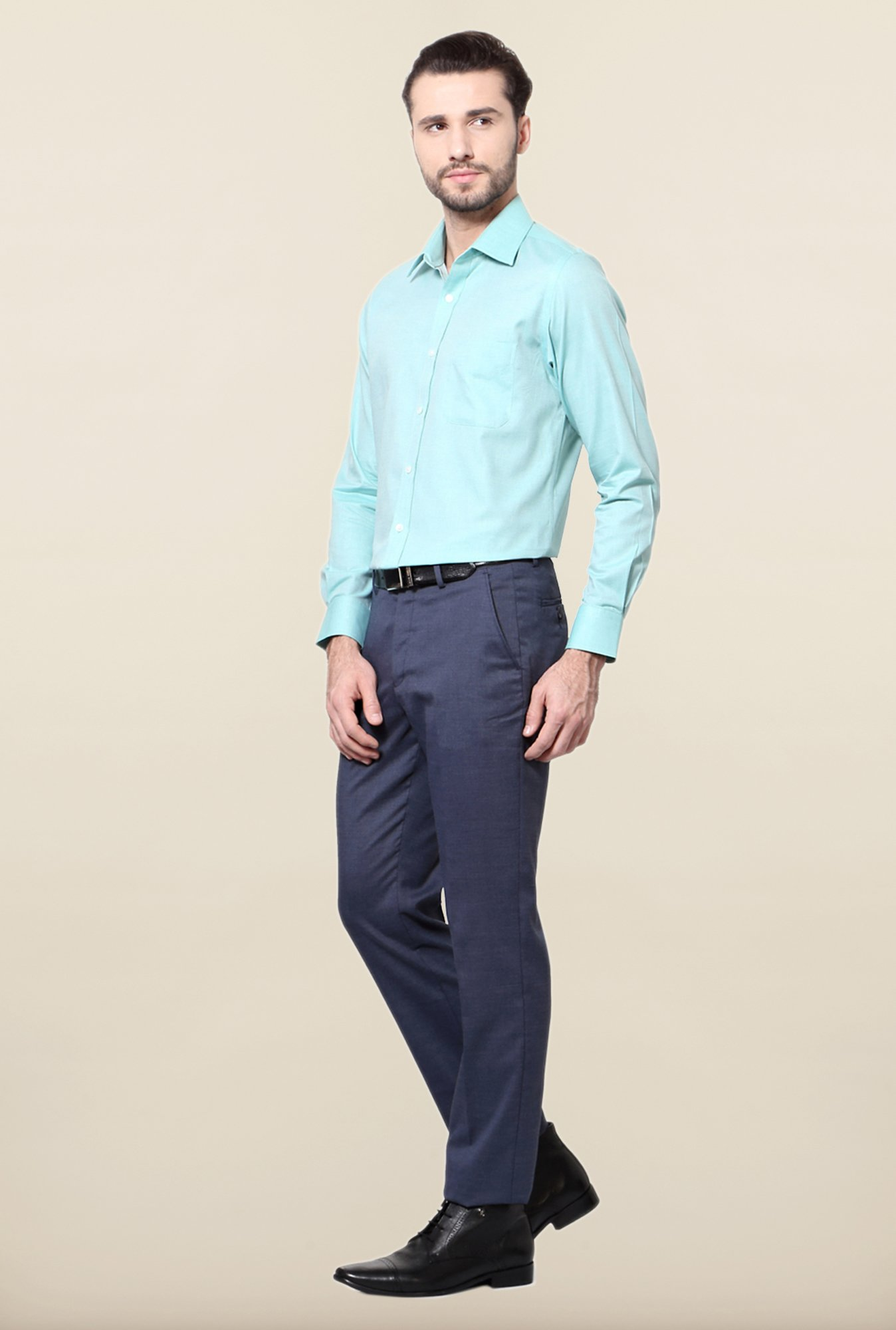 Peter England Turquoise Solid Cotton Shirt