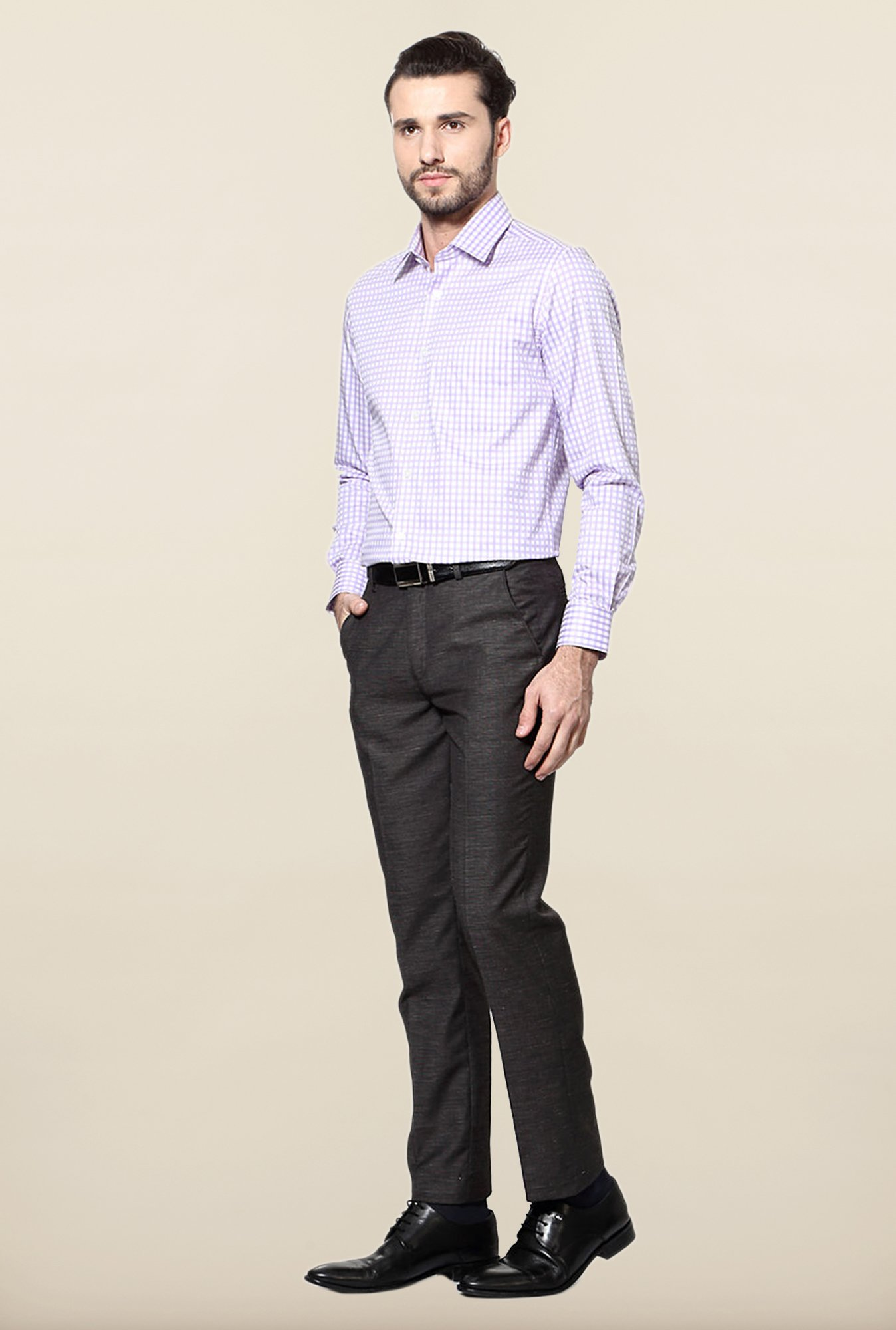Peter England Lilac Checks Slim Fit Formal Shirt