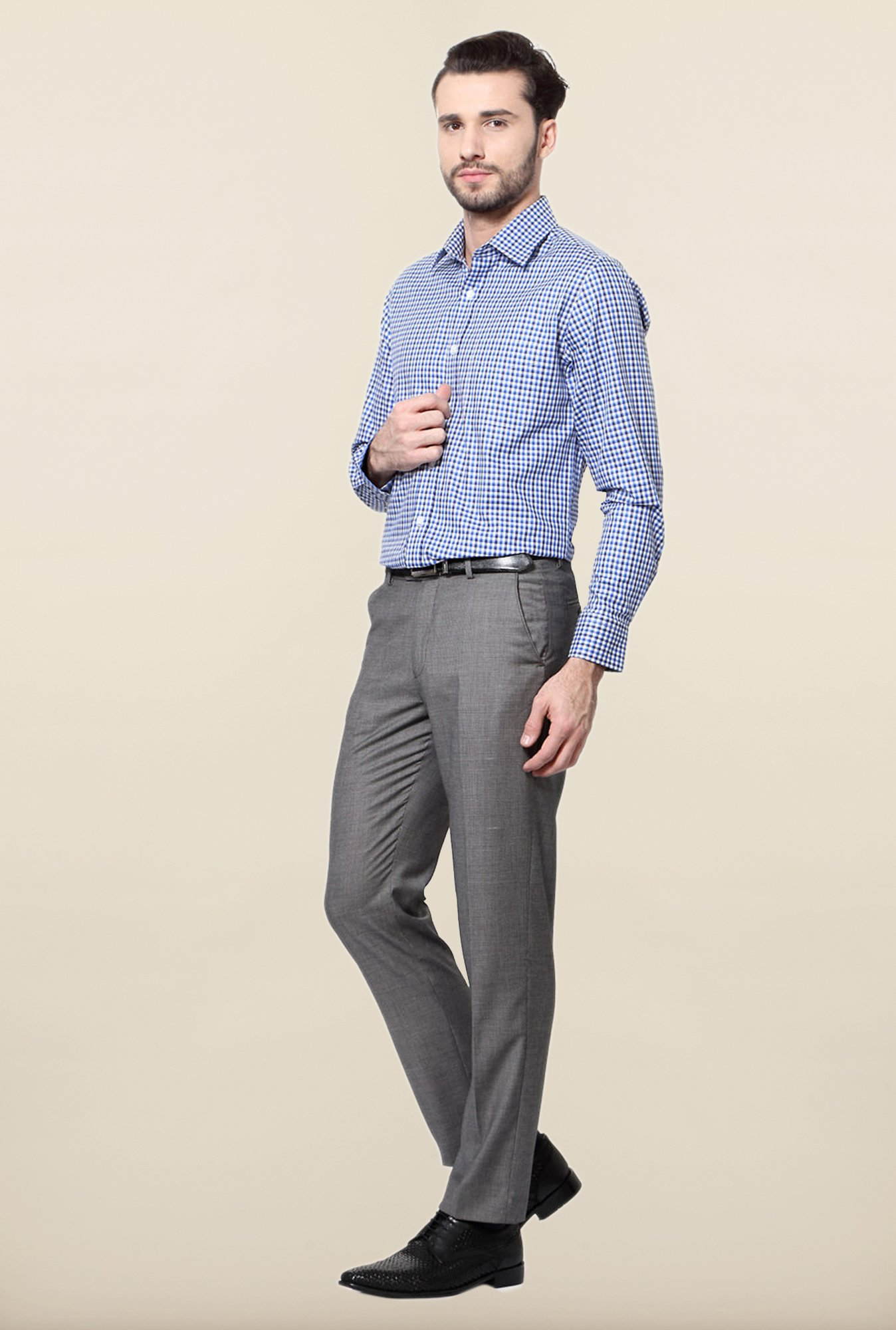 Peter England Blue Slim Fit Cotton Shirt