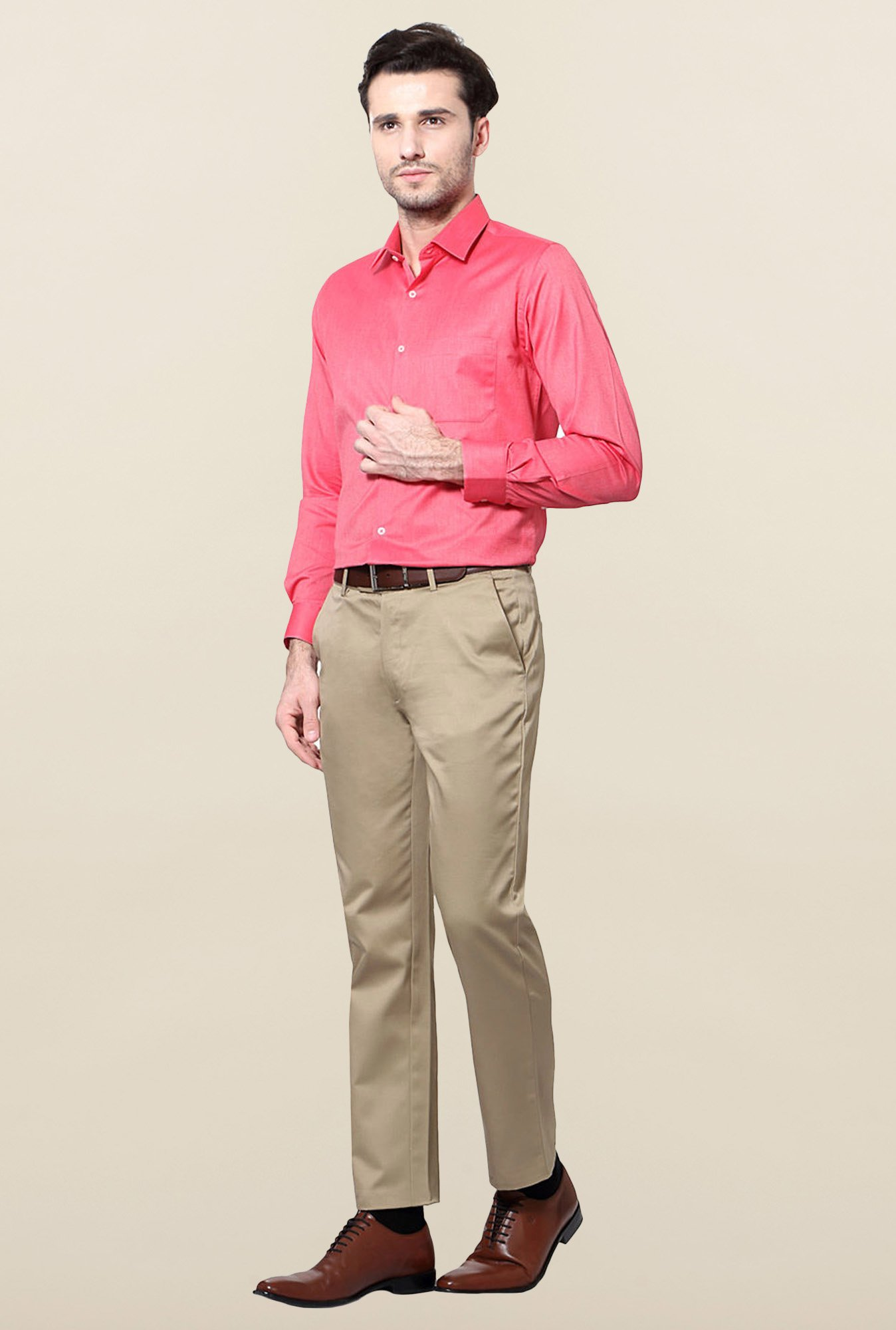 Peter England Pink Slim Fit Shirt