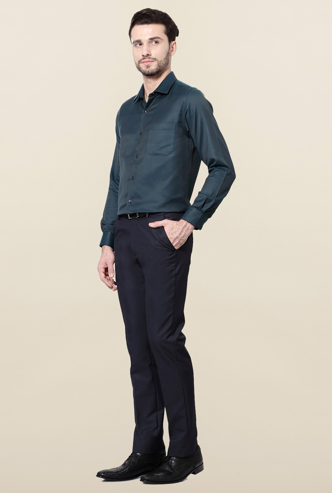 Peter England Teal Slim Fit Formal Shirt