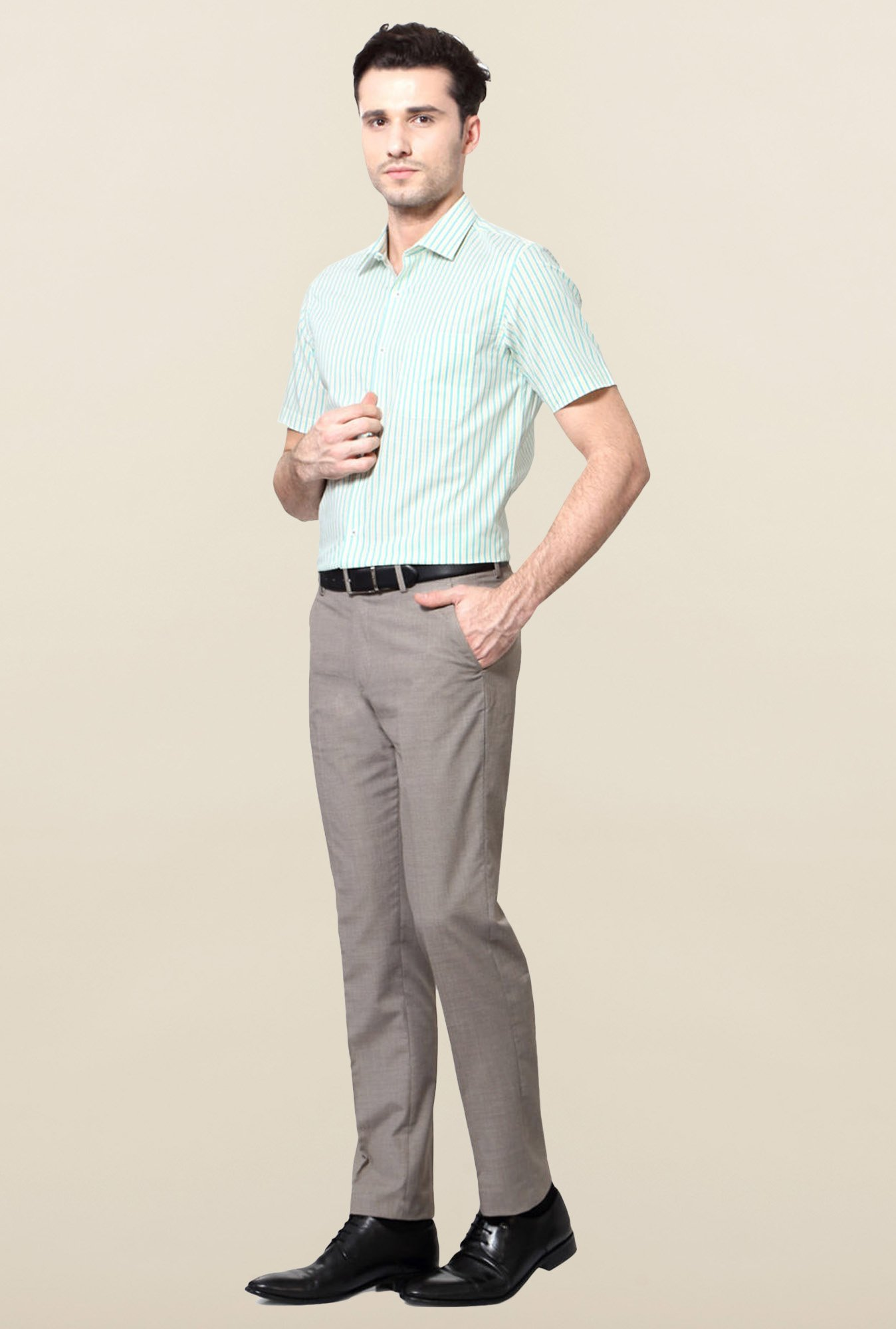 Peter England Green Striped Cotton Formal Shirt