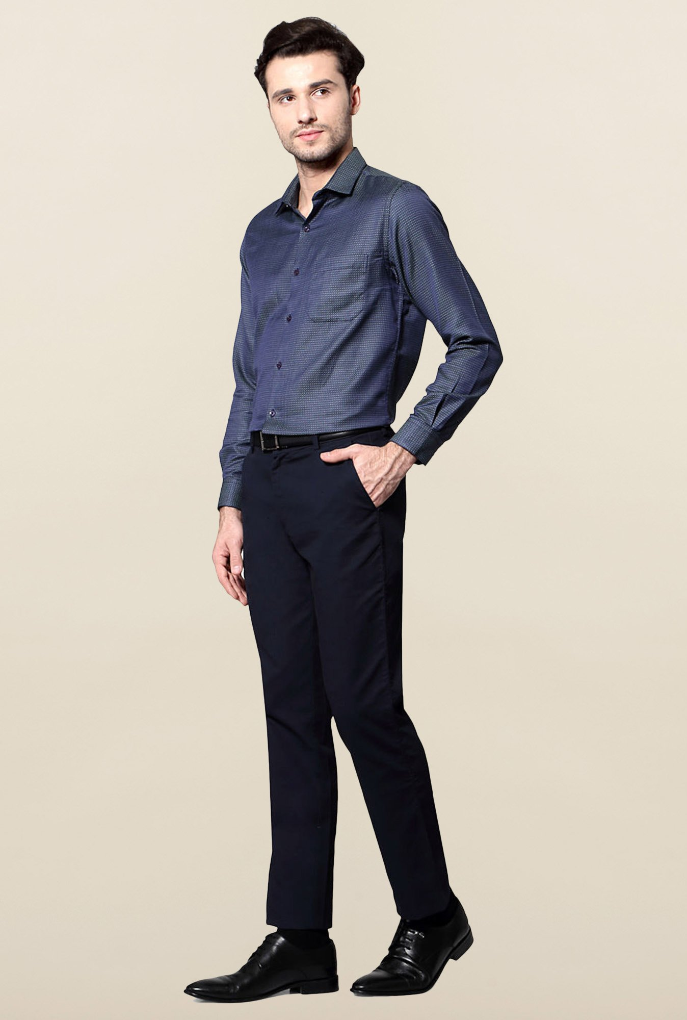 Peter England Navy Slim Fit Formal Shirt