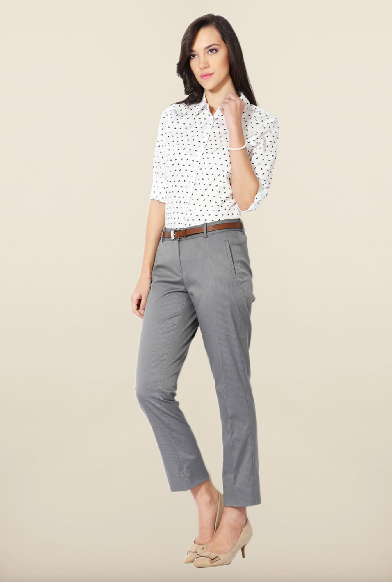 Allen Solly Grey Striped Trouser