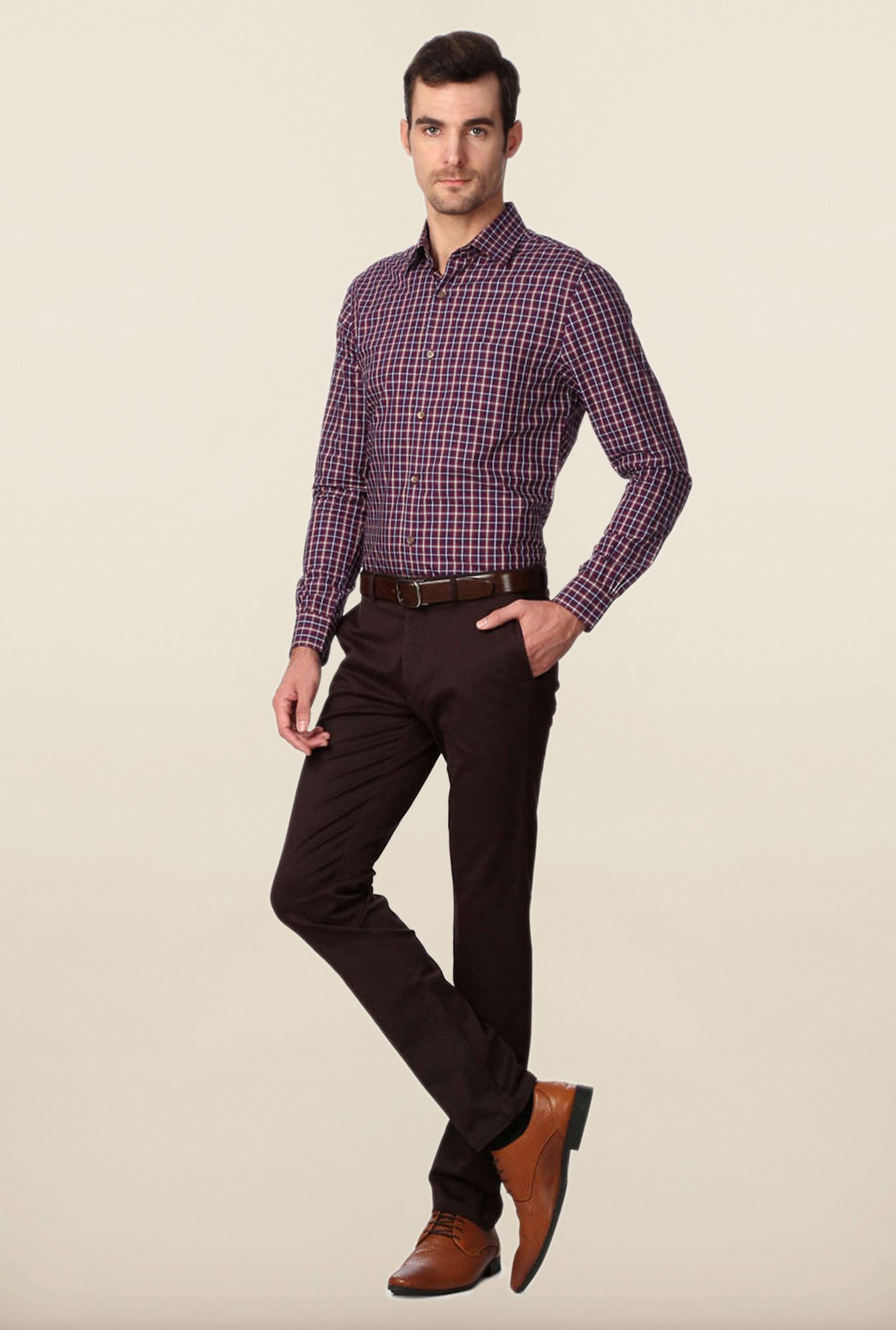 Peter England Purple & Maroon Checks Slim Fit Shirt