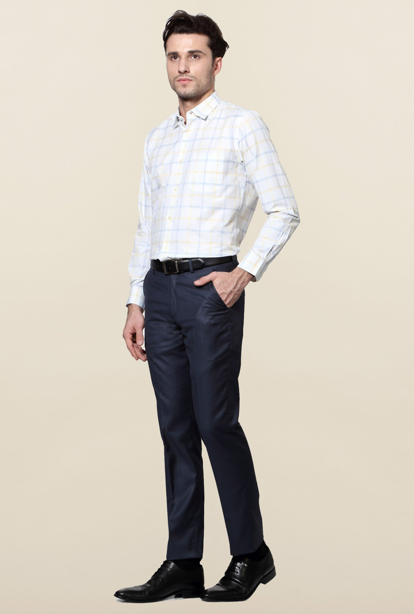Peter England White & Blue Checks Slim Fit Shirt
