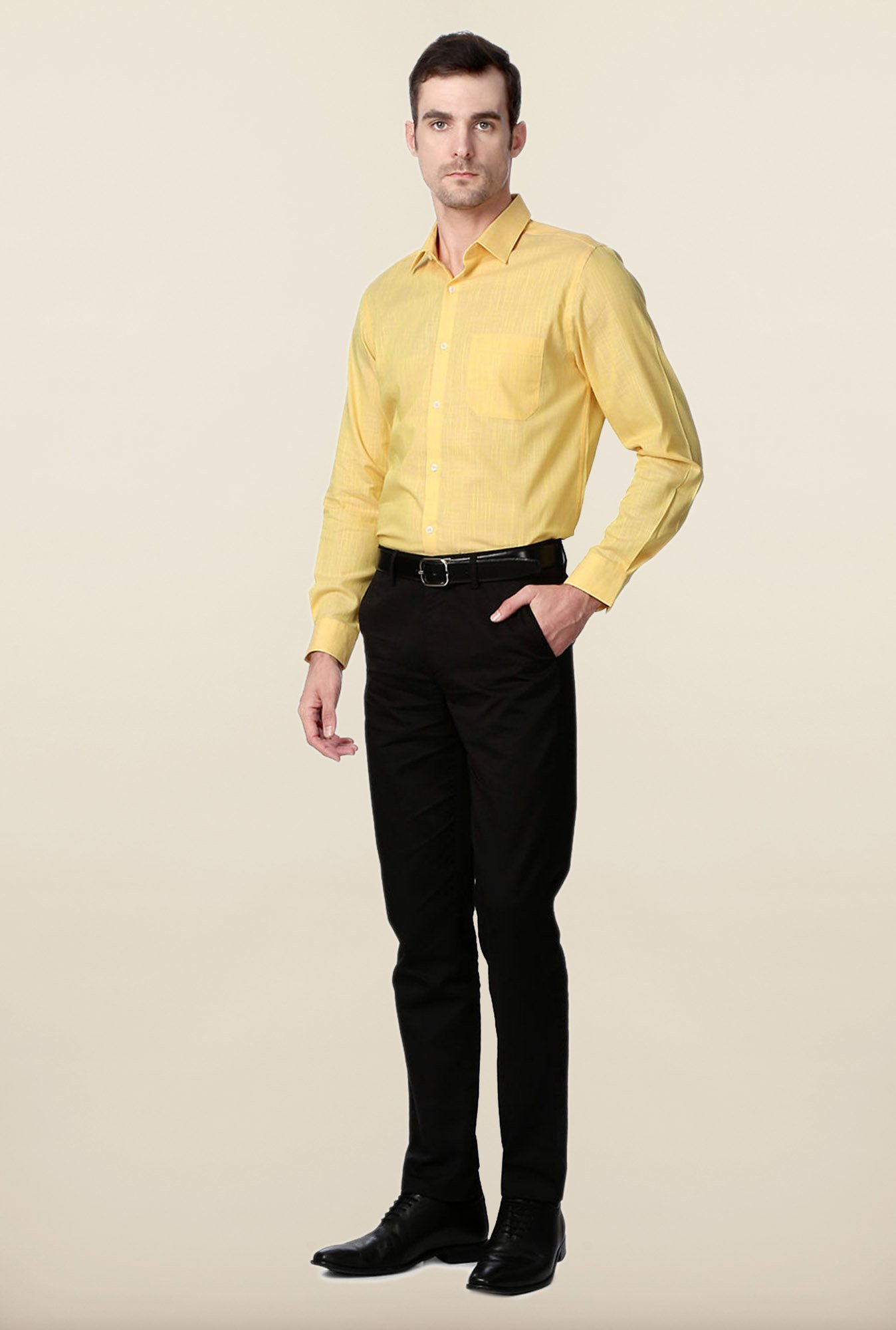 Peter England Yellow Cotton Formal Shirt
