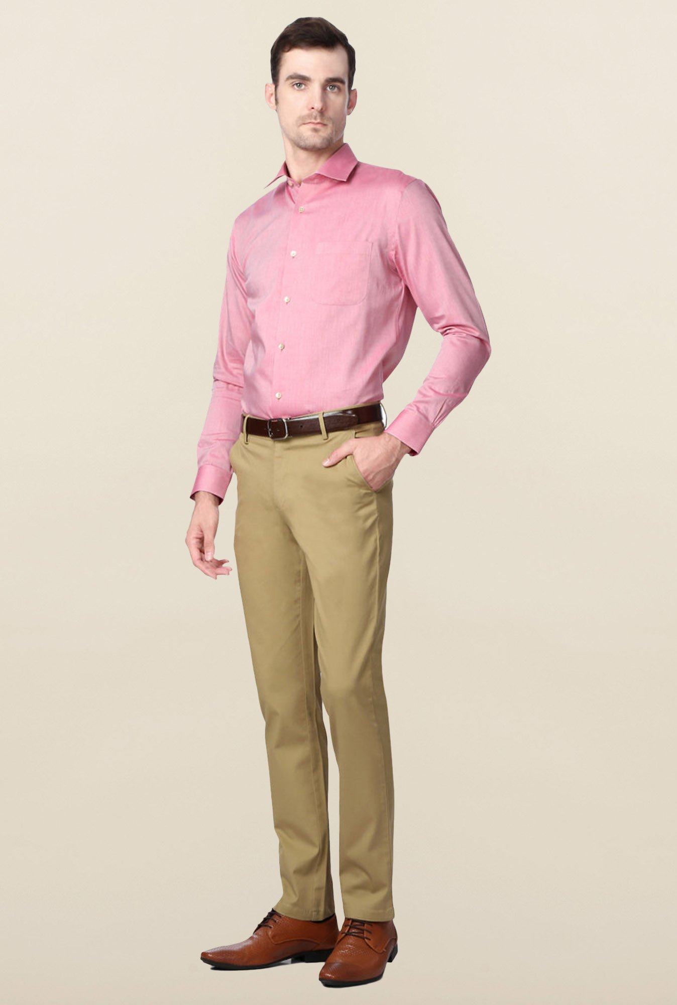 Peter England Pink Solid Slim Fit Cotton Shirt