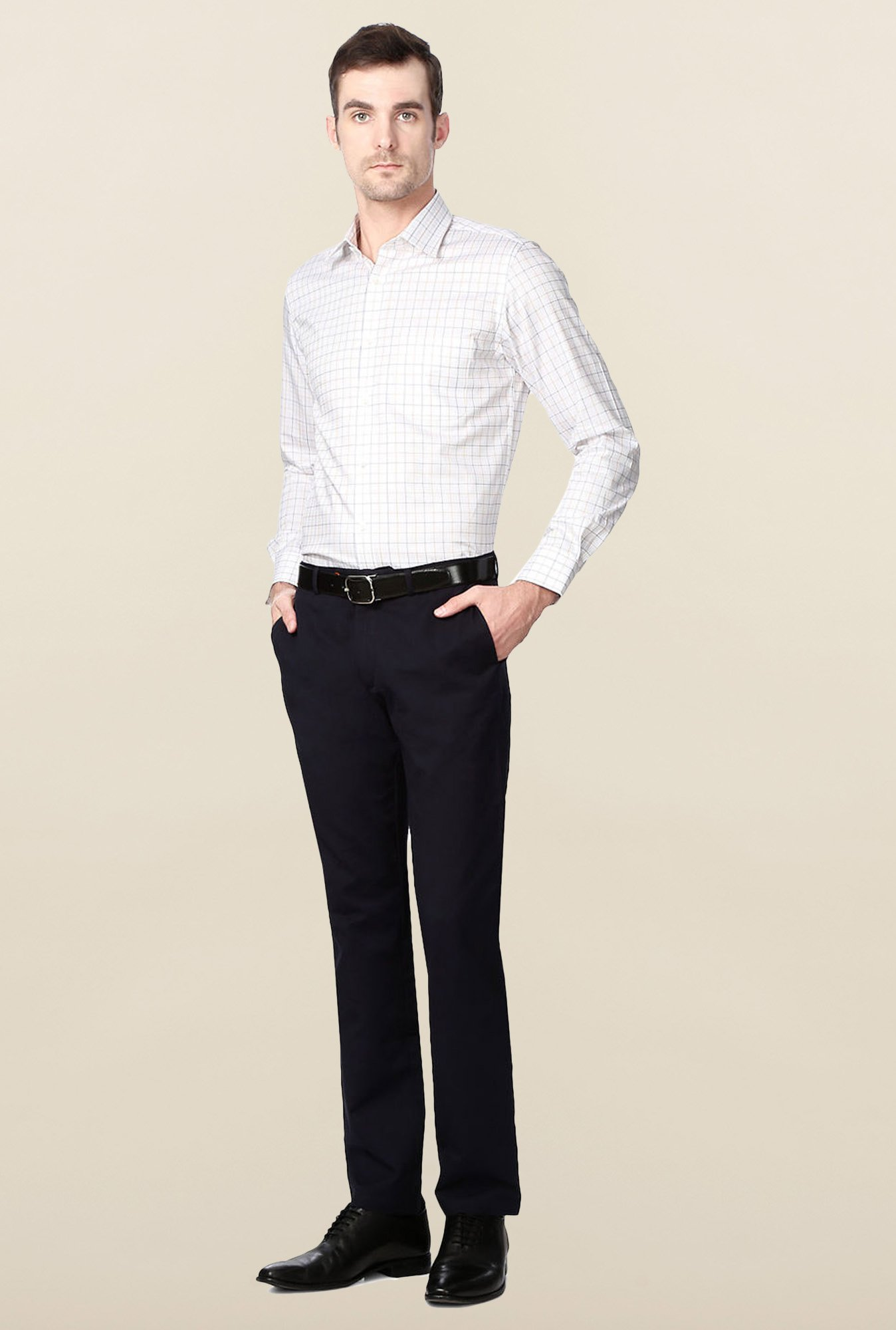 Peter England White Checks Slim Fit Cotton Shirt