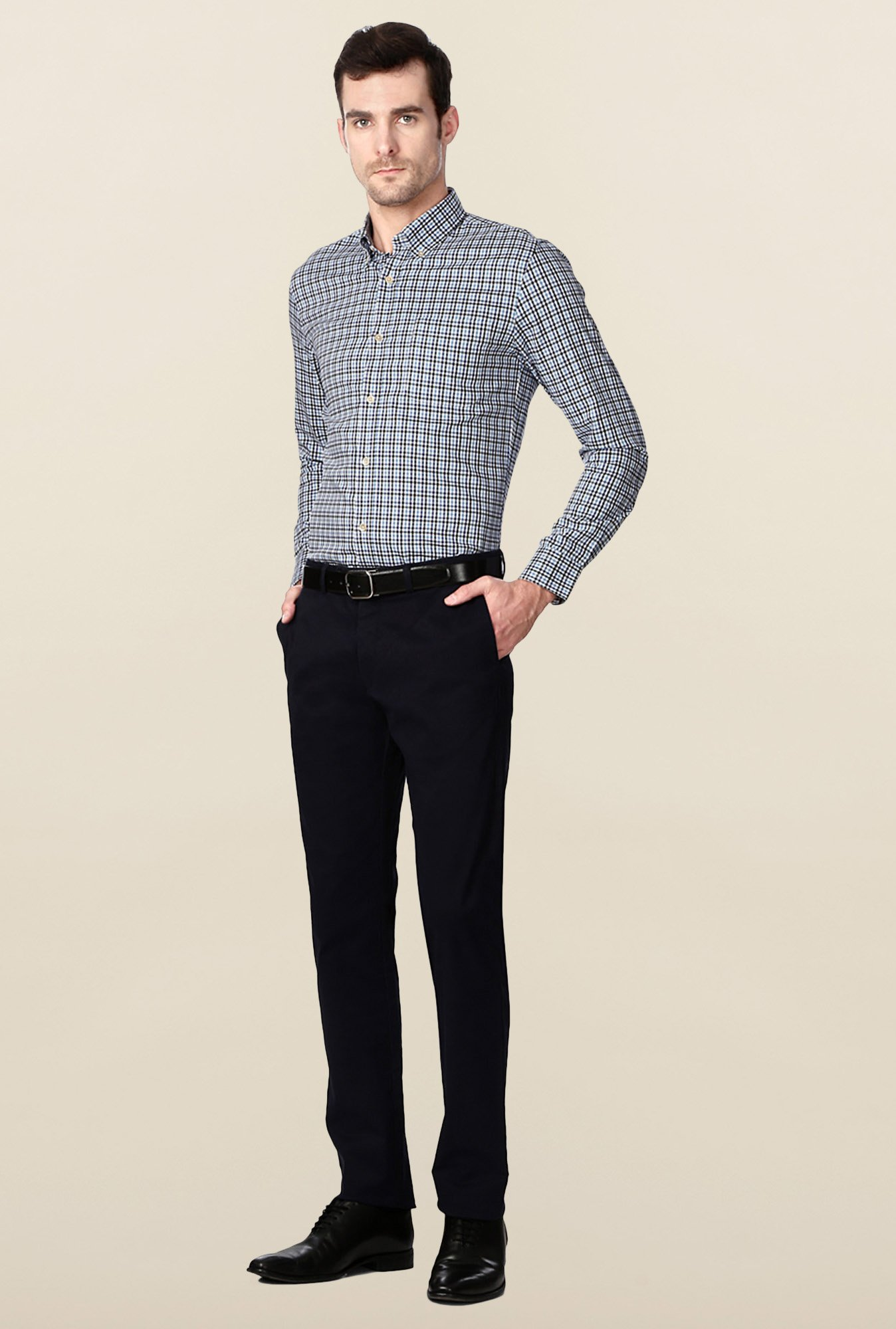 Peter England Blue & Black Checks Formal Shirt