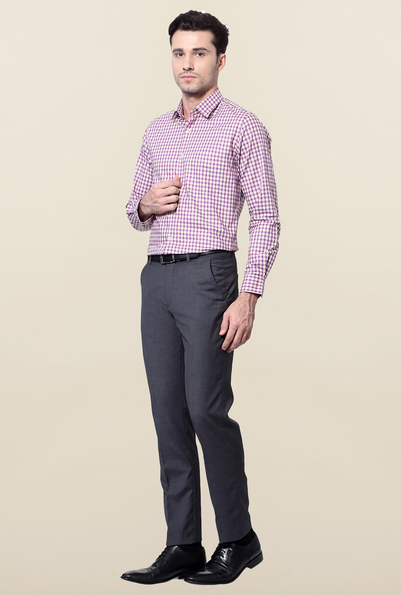 Peter England Pink & Purple Checks Cotton Shirt