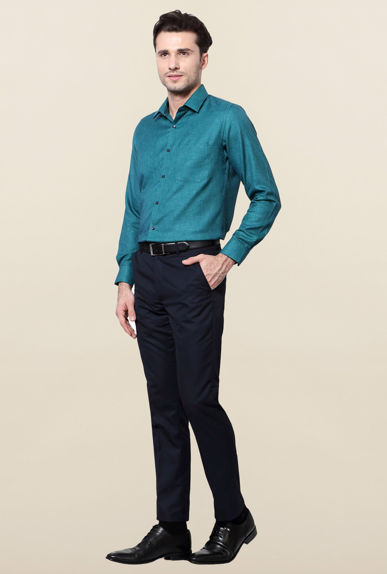 Peter England Teal Slim Fit Cotton Formal Shirt