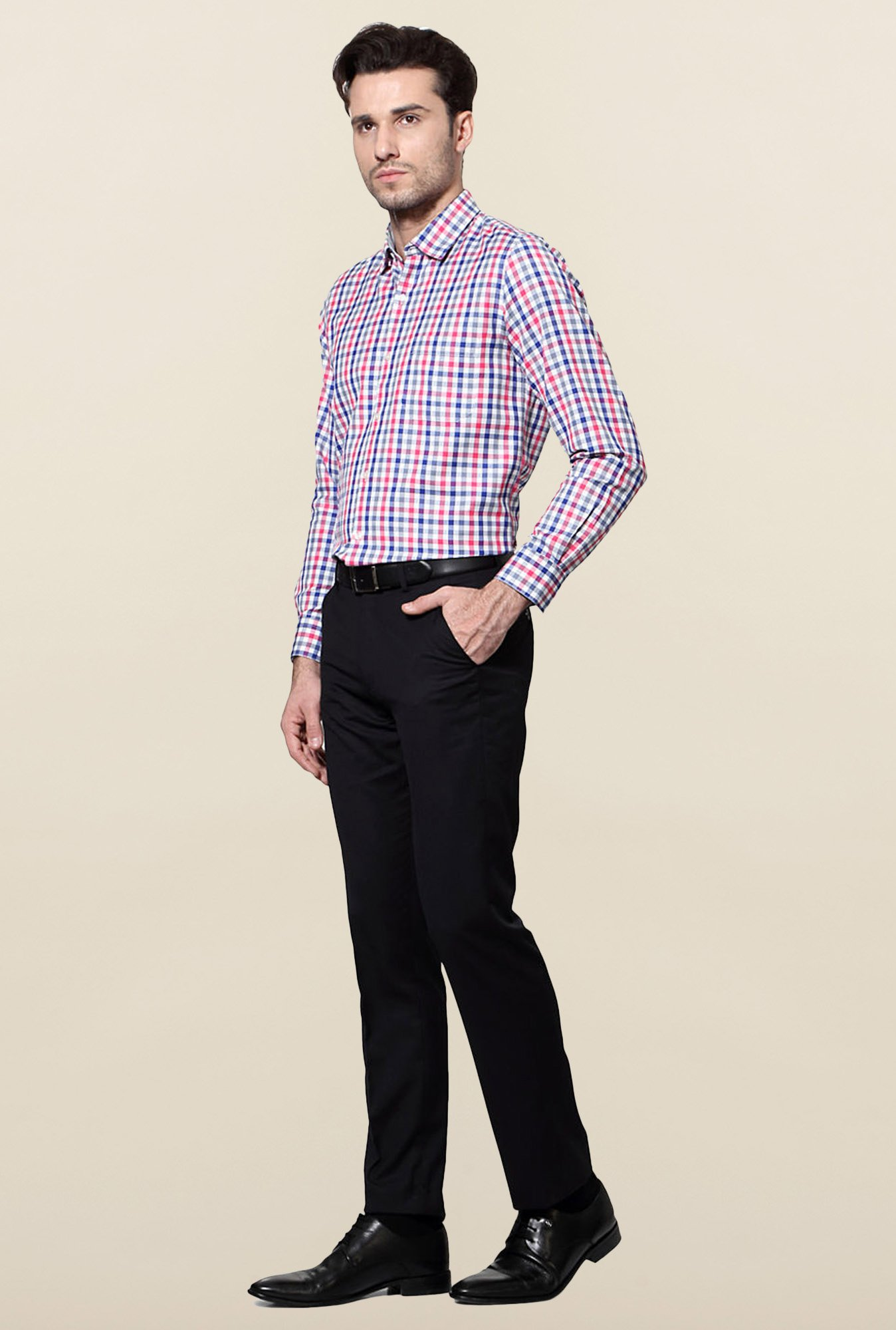 Peter England Pink & Blue Slim Fit Formal Shirt