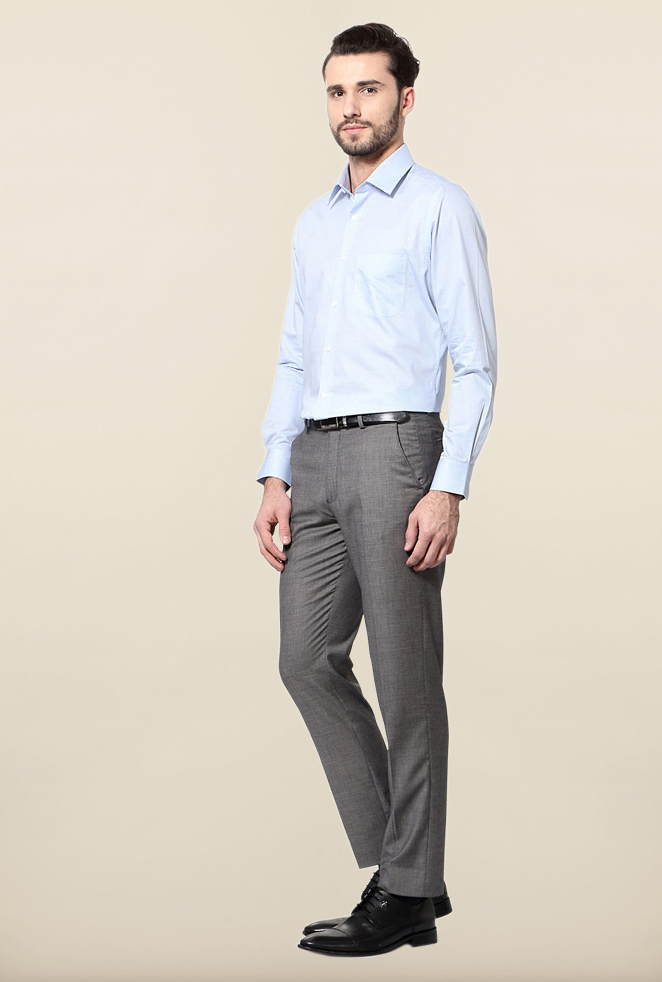 Peter England Sky Blue Checks Slim Fit Shirt