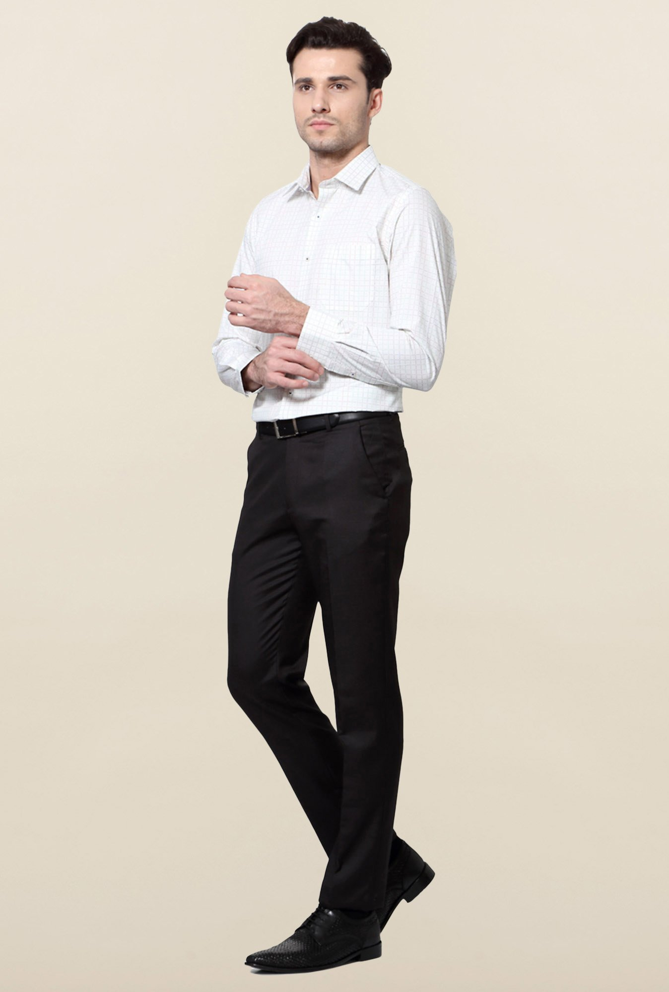 Peter England White Slim Fit Cotton Formal Shirt