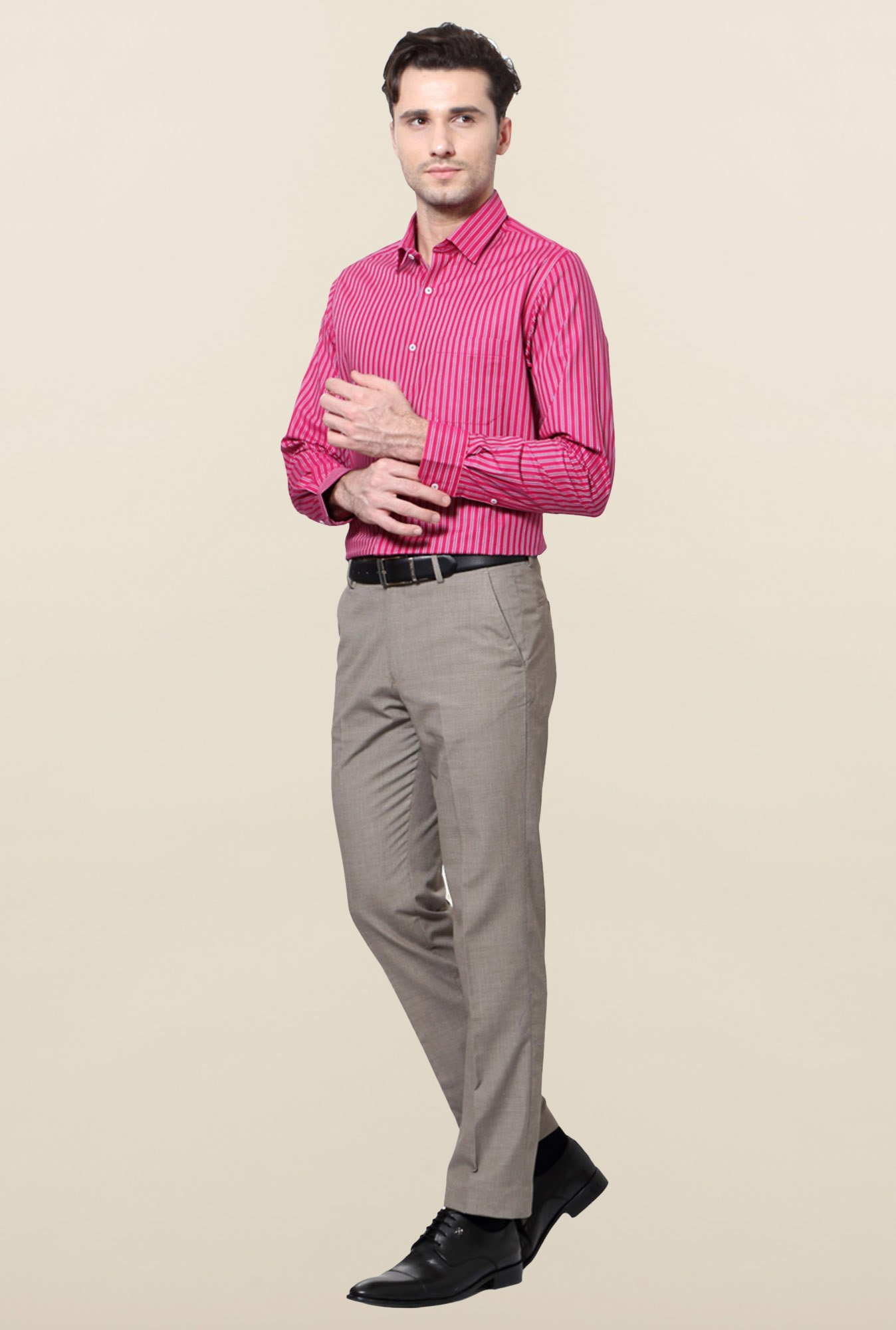 Peter England Pink & Purple Striped Formal Shirt