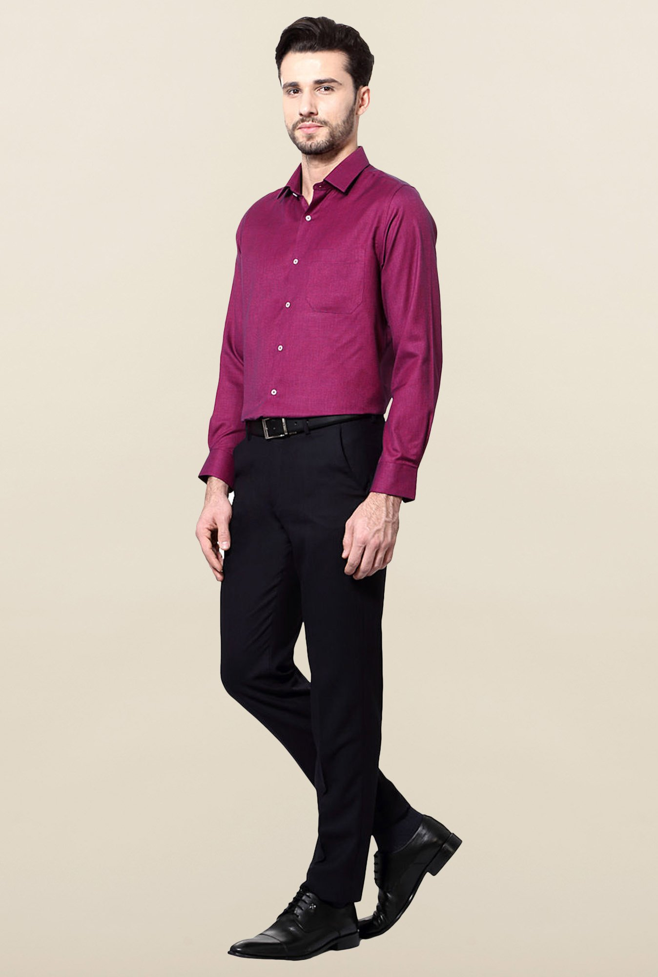 Peter England Magenta Slim Fit Formal Shirt