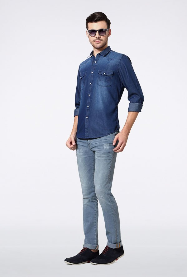 Allen Solly Denim Blue Casual Shirt