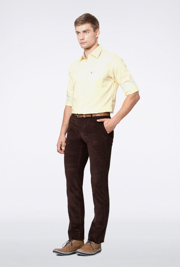 Allen Solly Yellow Solid Slim fit Casual Shirt