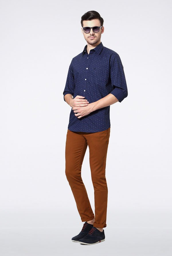 Allen Solly Navy Printed Slim fit Casual Shirt
