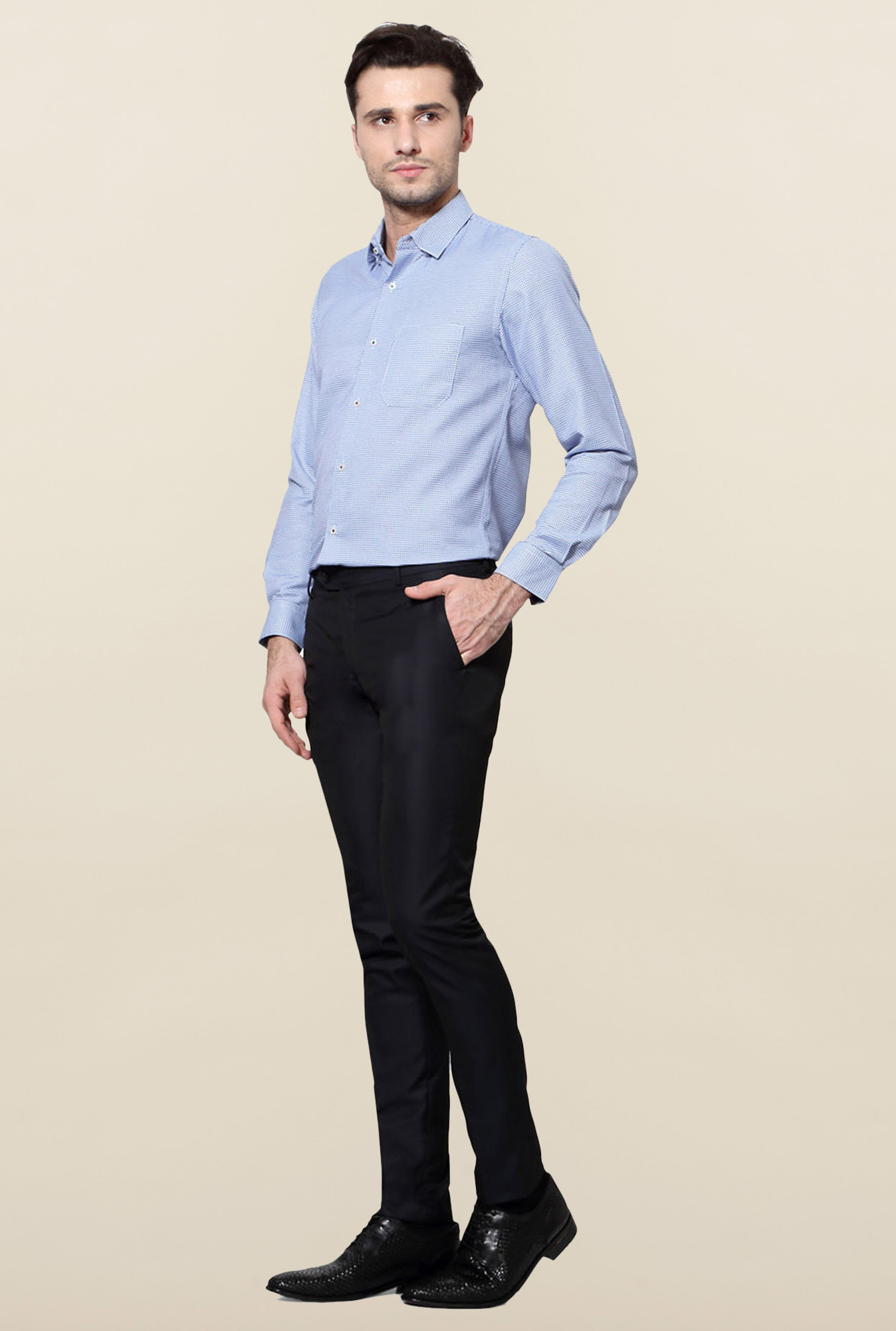 Peter England Navy Solid Skinny Fit Trouser